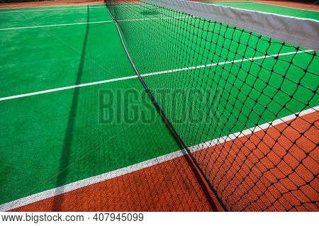 Tennis Court Closeup. Outdoor Indoor Sport, Health Recreational. Empty Tennis Court