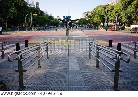 Buenos Aires, Argentina - January, 2020: Pedestrian With Handrails For Disabled People On Road Inter