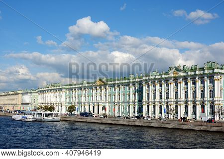 St. Petersburg, View Of Palace Bridge On The Palace Embankment And The Winter Palace
