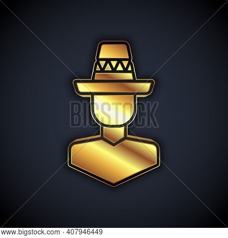 Gold Mexican Man Wearing Sombrero Icon Isolated On Black Background. Hispanic Man With A Mustache. V