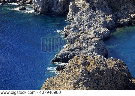 Lindos, Rhodes / Greece - June 23, 2014: The Cliffs View Near Lindos, Rhodes, Dodecanese Islands, Gr