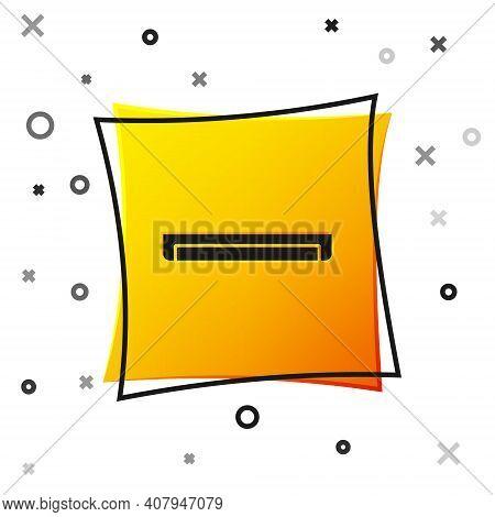 Black Long Luminescence Fluorescent Energy Saving Lamp Icon Isolated On White Background. Yellow Squ
