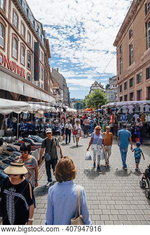 Strasbourg, France - July 29, 2017: Large Crowd Of People Walking On The Street Of Strasbourg During