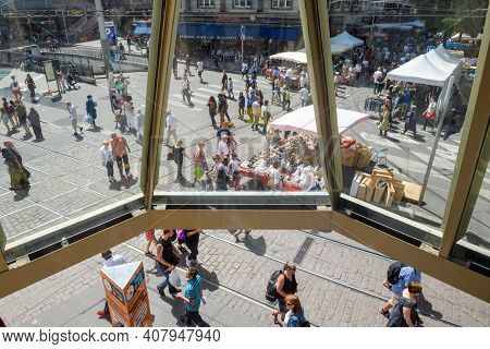 Strasbourg, France - July 29, 2017: View From Above From Steel Balcony Of Large Crowd Walking On Str