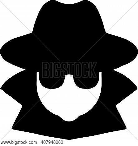 Spy Icon Isolated On White Background , Spy Icon, Suit, Sunglasses