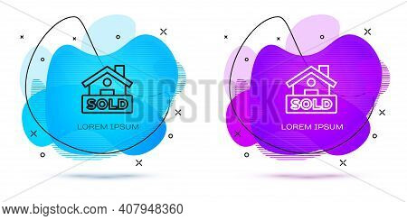 Line Hanging Sign With Text Sold Icon Isolated On White Background. Sold Sticker. Sold Signboard. Ab