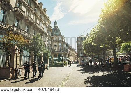 Strasbourg, France - Jul 29, 2017: Large Group Of Male Policemans From Gendarmerie Surveilling Insou