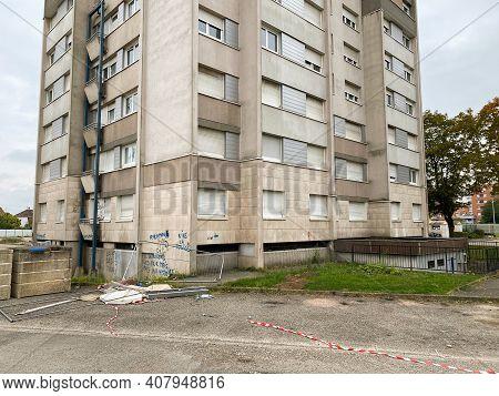 Strasbourg, France - Oct 17, 2020: Tall Abandoned Apartment Building Habitation A Loyer Modere, Gene