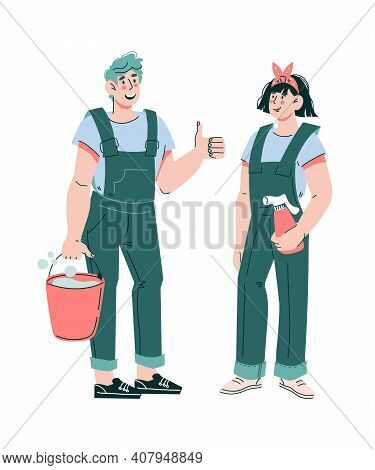 Friendly Smiling Cleaners Man And Woman Dressed In Work Uniform Clothes, Cartoon Vector Illustration