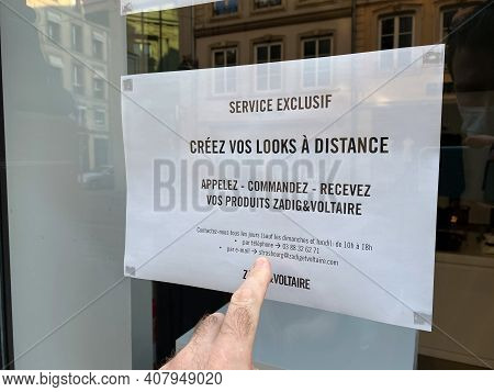 Strasbourg, France - Oct 31, 2020: Advertising Of Zadig And Voltaire Closure Due To Covid-19 Lockdow