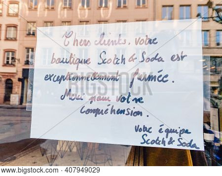 Strasbourg, France - Oct 31, 2020: Announcement Of Scotch And Soda Closure Due To Covid-19 Lockdown