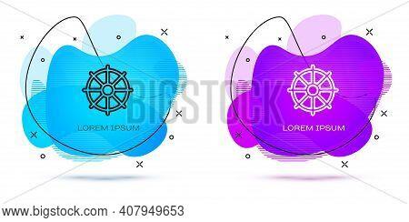 Line Dharma Wheel Icon Isolated On White Background. Buddhism Religion Sign. Dharmachakra Symbol. Ab