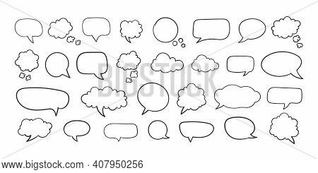Collection Of Empty Speech Bubbles. Comic Speech Bubble. Retro Empty Comic Bubble. Vector Illustrati