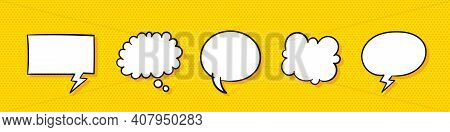 Speech Bubbles. Collection Of Empty Speech Bubbles. Hand Drawn Icons. Trendy Style. Retro Empty Comi