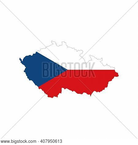 Map Of Czech Republic. Vector Design Isolated On White Background. Shape Of Czech Republic Map Fille