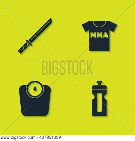 Set Japanese Katana, Fitness Shaker, Bathroom Scales And T-shirt With Fight Club Mma Icon. Vector