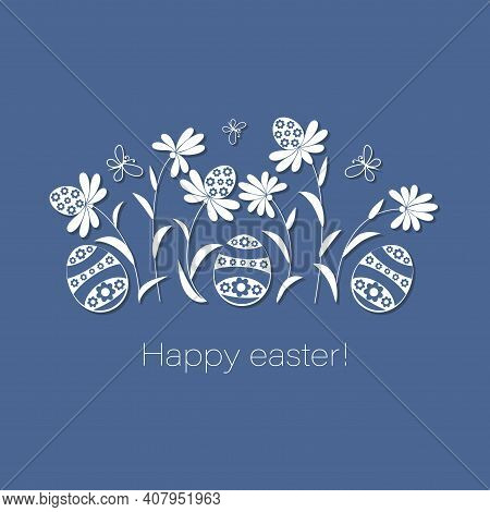 Easter Meadow. Happy Easter. Easter Eggs On Flowers Lawn. Vector Postcard, Poster. Template Design W