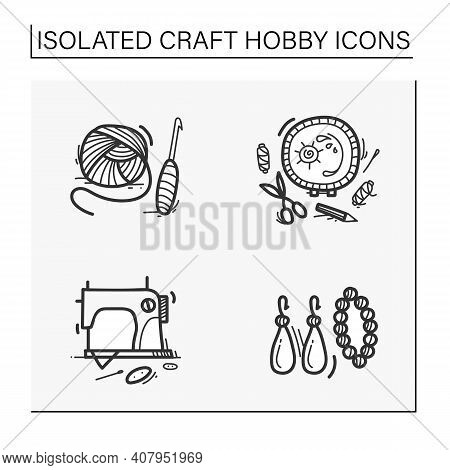 Craft Hobby Set Hand Drawn Icons. Handmade And Homemade Concept. Consist Of Sewing, Crochet Basics,
