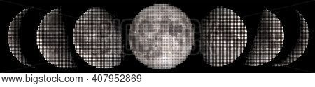 Halftone Vector Tiles Phases Of The Moon Waxing Crescent, First Quarter, Waxing Gibbous, Full Moon,