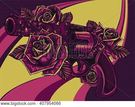 Vector Illustration Of Revolver Colt With Roses