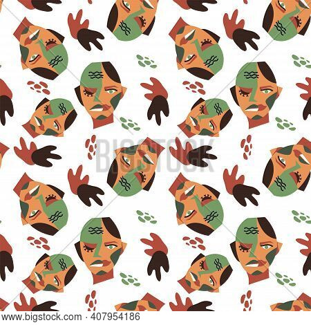 Seamless Pattern With Male Surreal Portrait And Abstract Shapes. Modern Vector Illustration. Endless