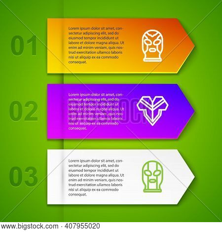 Set Line Mexican Wrestler, Poncho And . Business Infographic Template. Vector