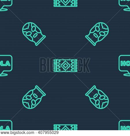 Set Line Mexican Carpet, Wrestler And Hola On Seamless Pattern. Vector