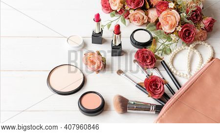 Valentine Gift. Makeup Cosmetics Tools Background And Beauty Cosmetics, Products And Facial Cosmetic