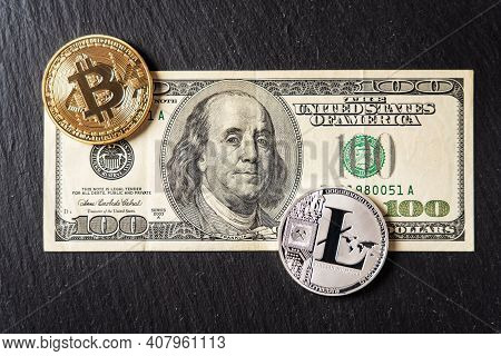 Bitcoin, Litecoin Cryptocurrency Equivalent To Dollar, A Banknote Of Hundred Units. Future Virtual C