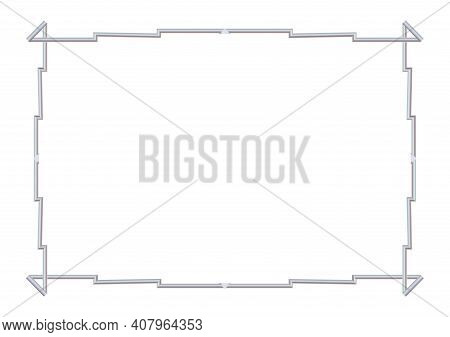 Rectangle Realistic Stepped Frame Metal Or Silver. Slender On White Background. Steel, Photoframe Te