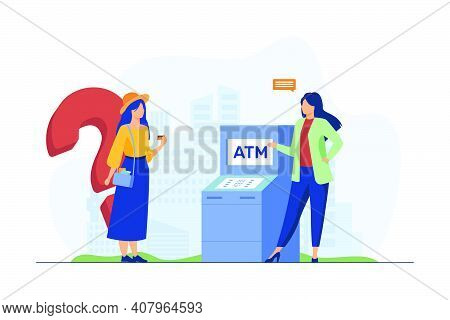 Bank Worker Helping Customers To Use Atm. Girl With Credit Card Having Question Flat Vector Illustra