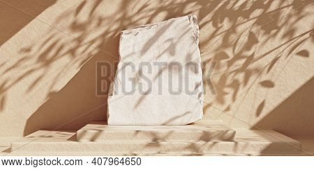 White Stone Plate Product Podium On Beige Concrete Background With Leaf Shadows. Minimal Cosmetic Pr