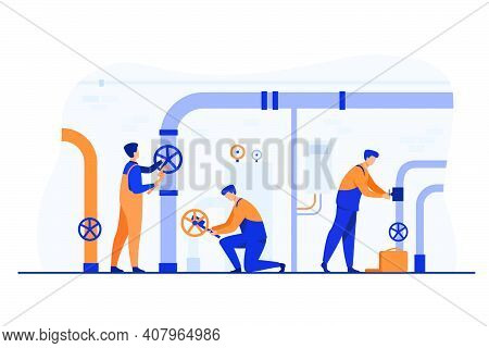 Handymen Working In Team And Fixing Leakage In Boiler Room Flat Vector Illustration. Cartoon Plumber
