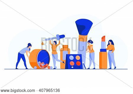 Happy Tiny Women Testing Makeup Products Flat Vector Illustration. Cartoon Female Characters Cosmeti