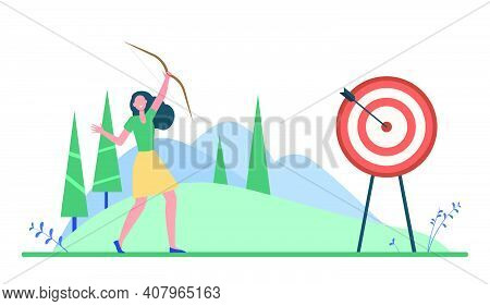 Happy Woman Reaching Target Or Goal. Arrow, Achievement, Aim Flat Vector Illustration. Targetting An