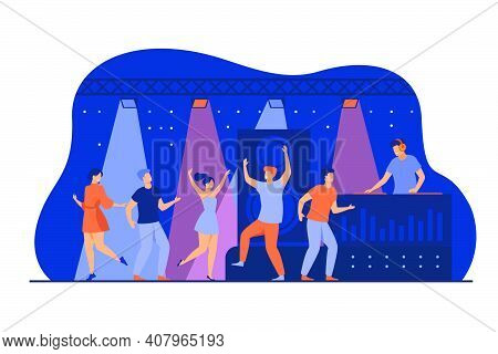 Happy Young People Dancing In Club Isolated Flat Vector Illustration. Cartoon Characters Enjoying Da