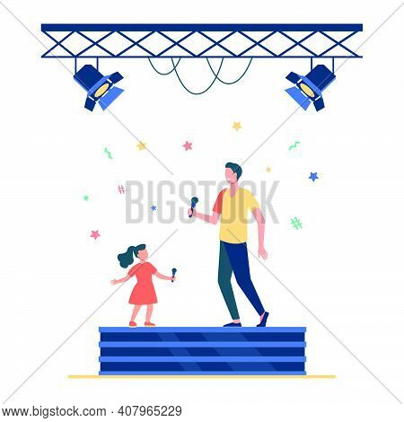 Kid And Adult Singers Duet. Celebrity Dad And Daughter Singing Together On Stage Flat Vector Illustr