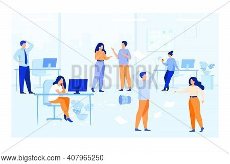 Lazy Employees Making Mess And Chaos At Workplaces In Office. Unorganized Managers Chatting, Using C