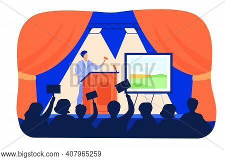 Man Holding Gavel Behind Special Stand And Selling Picture Flat Vector Illustration. Cartoon Crowd O
