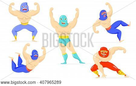 Mexican Fighters In Masks Flat Item Set. Cartoon Wrestlers Standing, Showing Muscles, Falling, Smili
