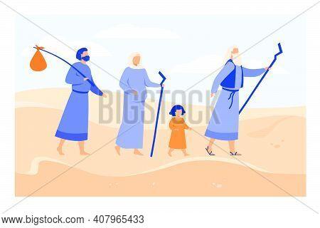 Moses Leading Israelites Across Desert Towards Promised Land Flat Vector Illustration. Christian Anc