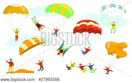 Parachutists Vector Illustrations Set. People On Hardhats And Masks Flying With Parachutes And Parag