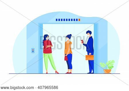 People In Masks In Elevator Cab. Keeping Distance, Public Space, Transport Flat Vector Illustration.