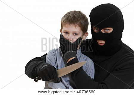 Thief Burglar kidnapper threaten the little child with knife during kidnapping. isolated on wite