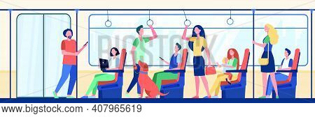 People Riding Subway Train. Commuters Sitting And Standing In Carriage. Vector Illustration For Metr