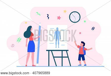 Schoolboy Saying Anatomy Lesson. Teacher With Pencil, Human Body Model On Whiteboard Flat Vector Ill