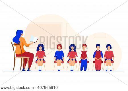Singing Coach Teaching Group Of Children. Music Teacher, Choir Of Kids In Classroom Flat Vector Illu