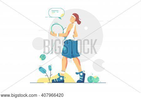 Woman Professional Tennis Game Player Vector Illustration. Sportswoman Holding Tennis Racket Flat St