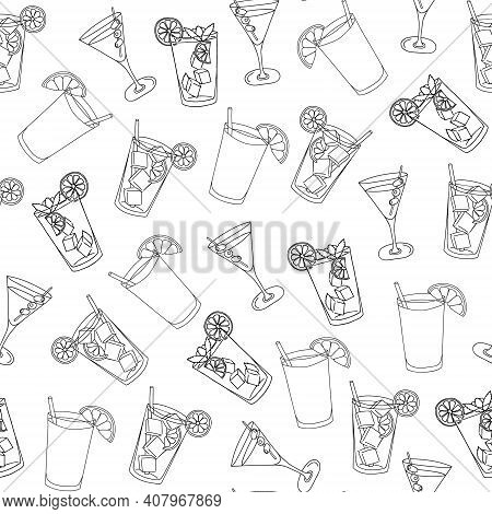 Seamless Pattern Glass Of Mojito, Long Island Ice Tea, Dry Martini, Ice Cubes, Mint Leaves And Lime