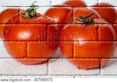 Water Drops On Tomatoes,imitation Graffiti,mural On A Brick Wall,imitation Painting